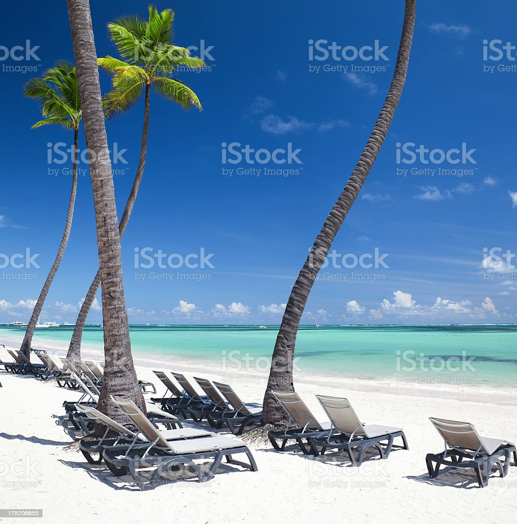 View of beach chairs and palms on Bavaro beach, Punta Cana royalty-free stock photo