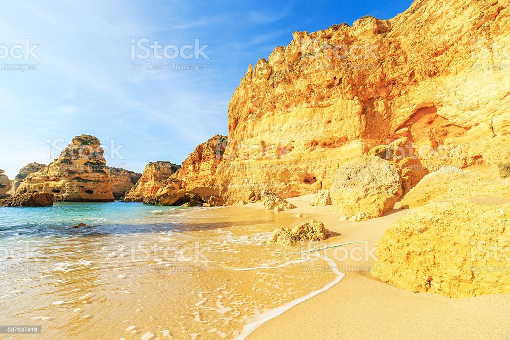 View of beach in Algarve region, Portugal stock photo