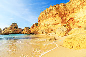 View of beach in Algarve region, Portugal