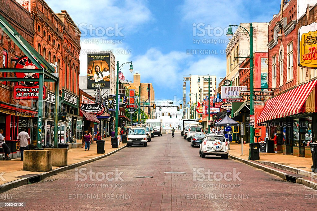View of Beale Street in Memphis, Tennessee stock photo