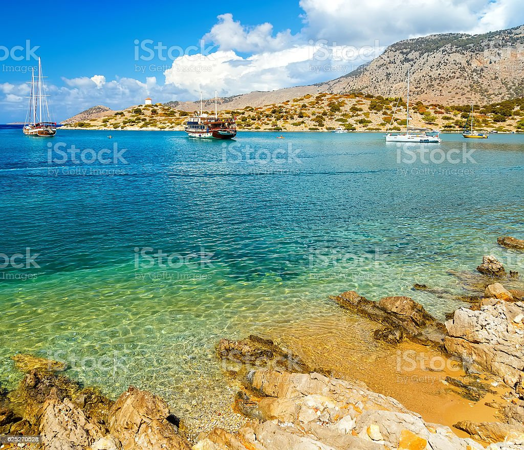 View of beautiful bay in panormitis  Symi island Greece stock photo