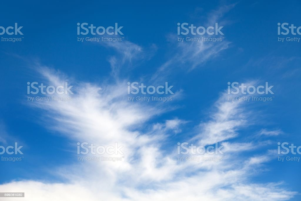 View of beautiful blue sky with white clouds stock photo
