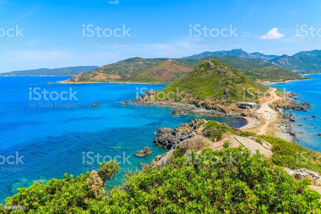 A view of beautiful coast of Corsica island from Cape de la Parata, France stock photo