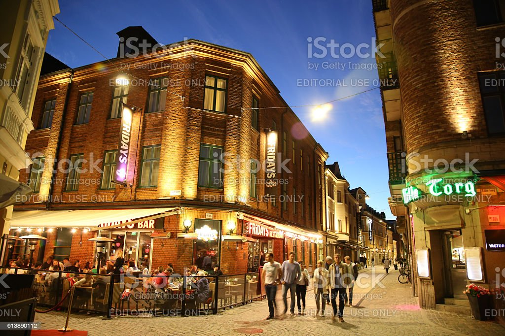 View of beautiful night scene in Malmo, Sweden stock photo