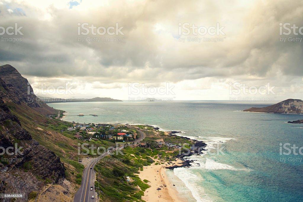 View of beautiful south shore of Oahu, just outside Honolulu stock photo