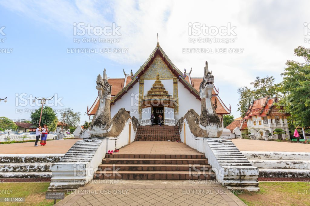 NAN , THAILAND - APRIL 6, 2017 : A view of Beautiful temple is name Wat Pu Min. Located in Nan province northern of Thailand. stock photo