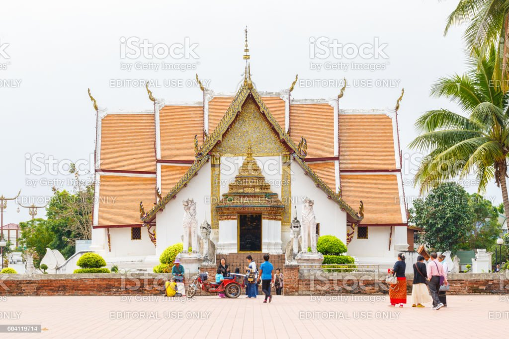 A view of Beautiful temple is name Wat Pu Min . Located in Nan province northern of Thailand. stock photo