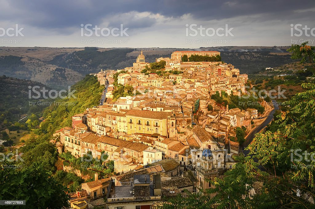 View of beautiful village Ragusa at sunset, Sicily stock photo