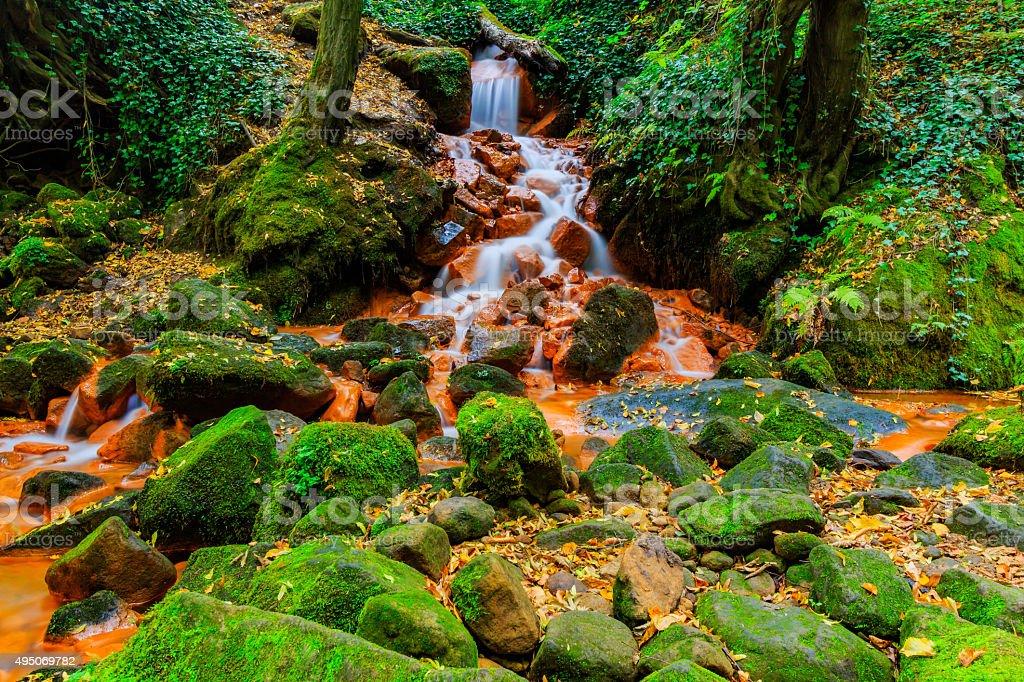 View of beautiful waterfall in the Czech-Saxony Switzerland. stock photo