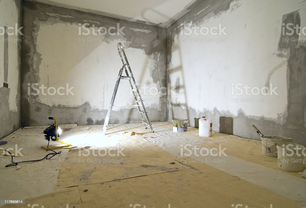 A view of behind the scenes of repairing a room stock photo