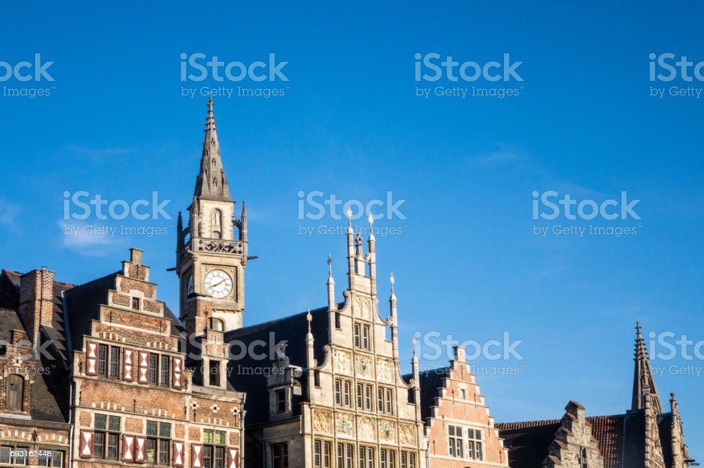 A view of Belfry of Ghent stock photo