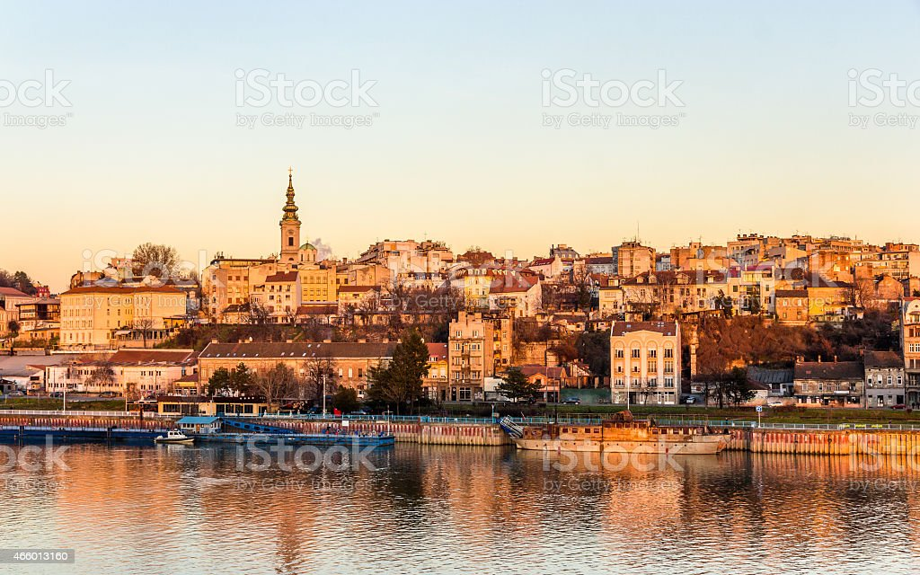 View of Belgrade from the Sava river - Serbia stock photo