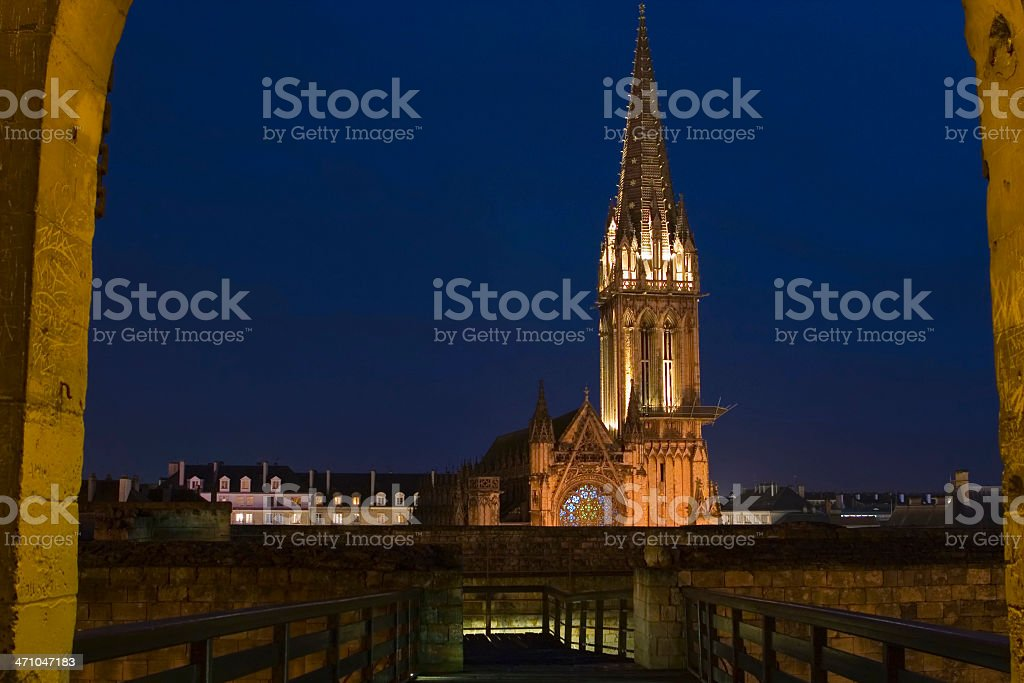 View of Belltower from Castle in Caen, Normandy stock photo