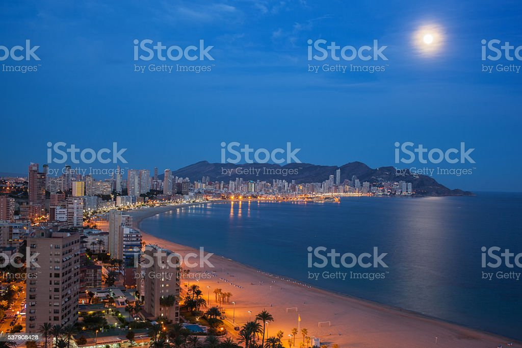 View of Benidorm at night stock photo