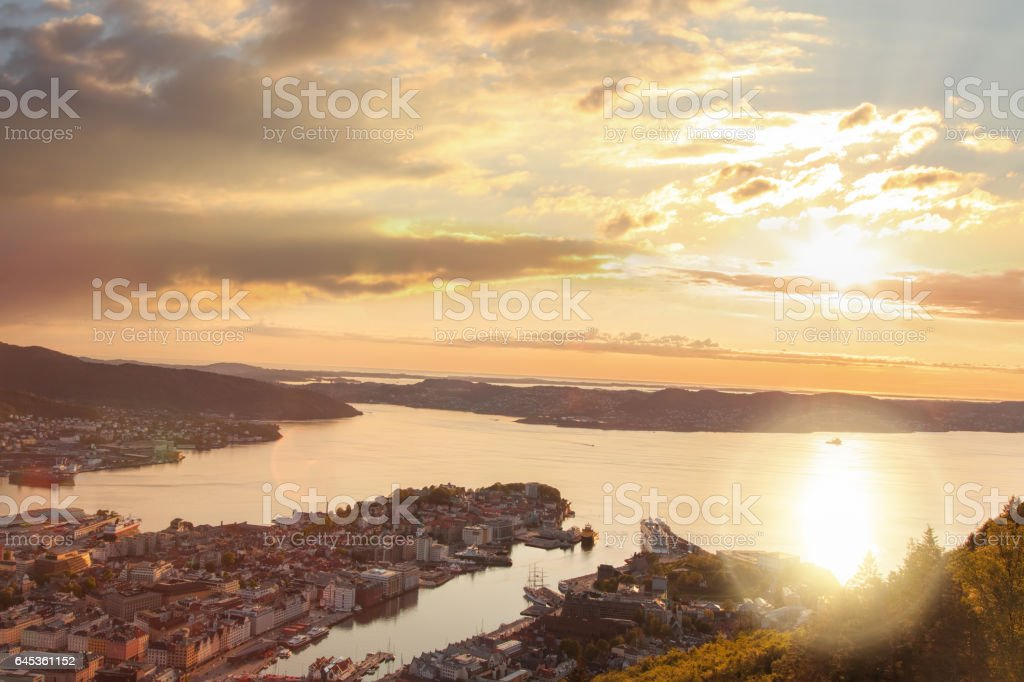 View of Bergen against golden sunset from Floyen in Norway stock photo