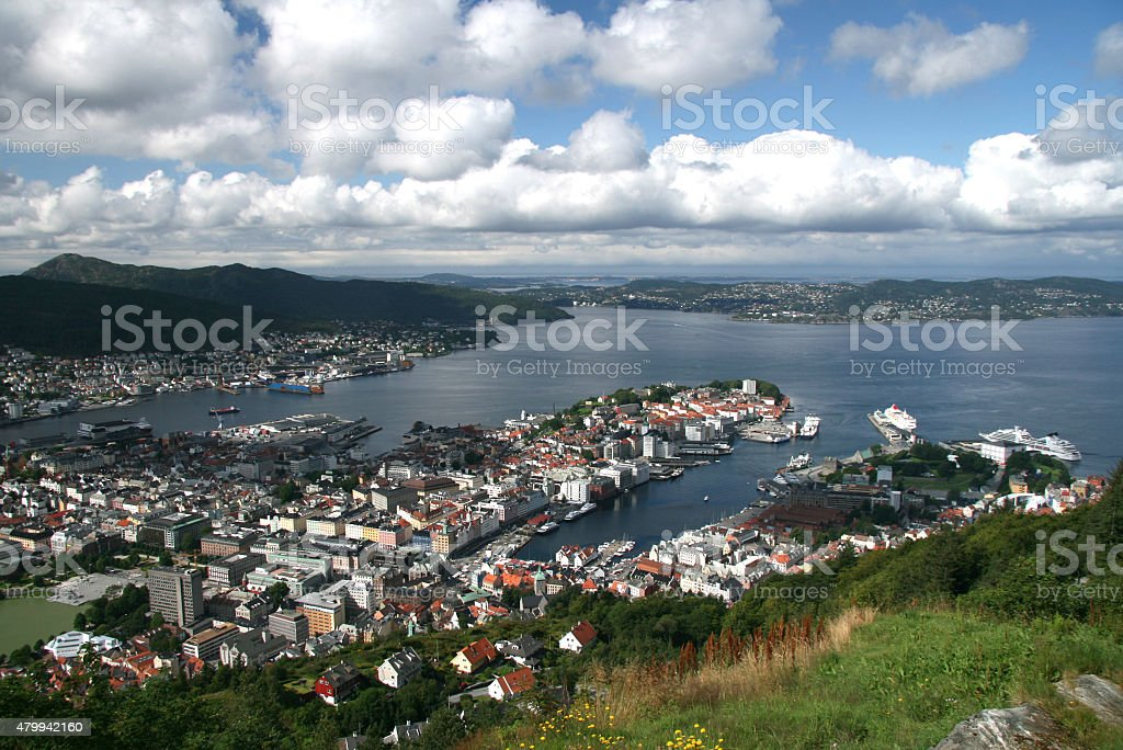 View of Bergen from Mount Floyen stock photo