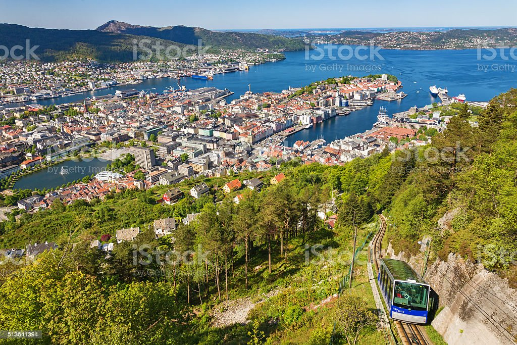 View of Bergen in Norway stock photo