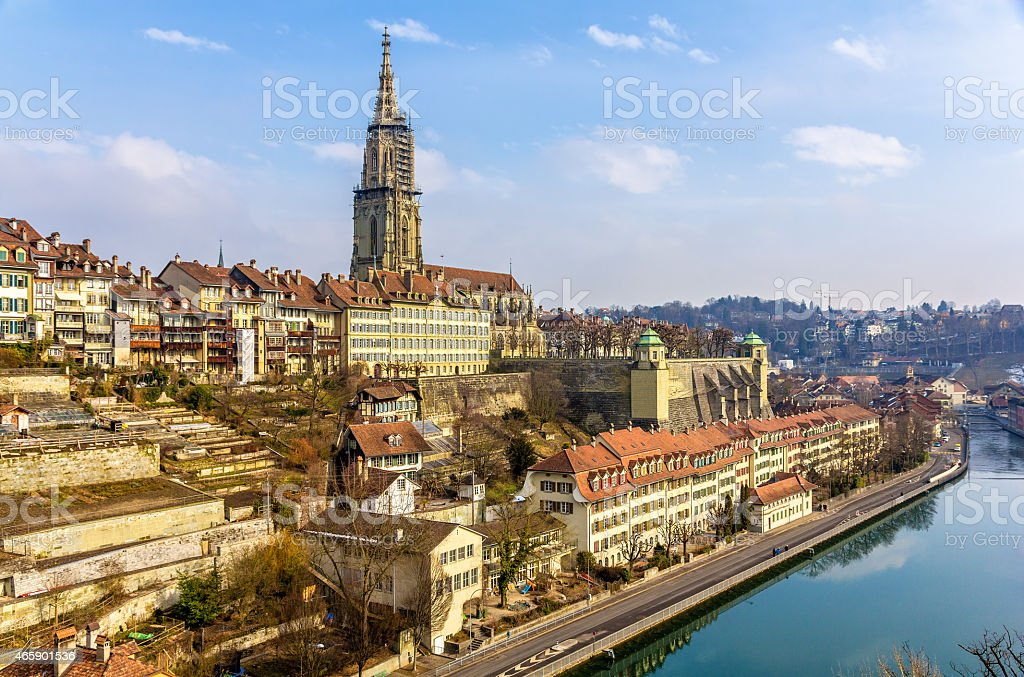 View of Bern old town over the Aare river, Switzerland stock photo
