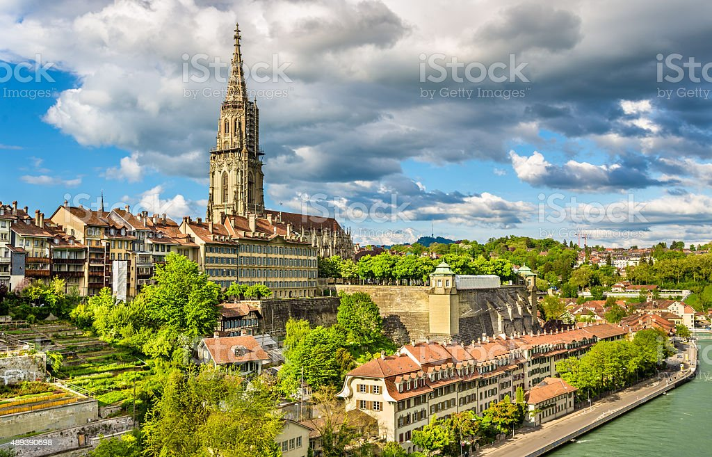 View of Bern with its cathedral - Switzerland stock photo