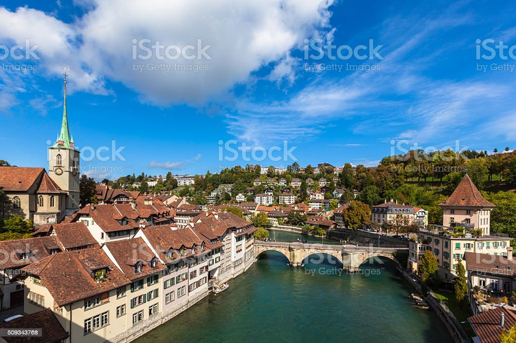 View of Berne old town on the bridge stock photo