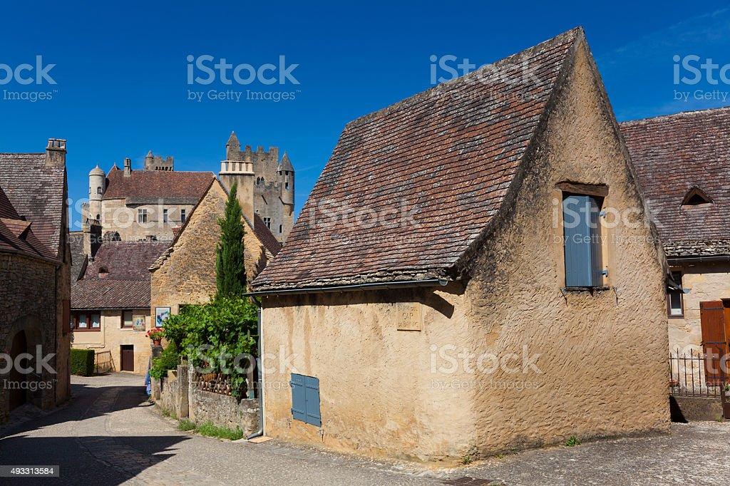 View of Beynac-et-Cazenac stock photo