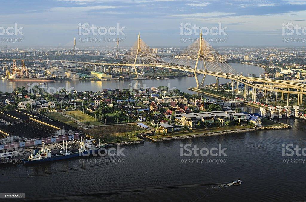 View of Bhumibol bridge and Cargo ship royalty-free stock photo