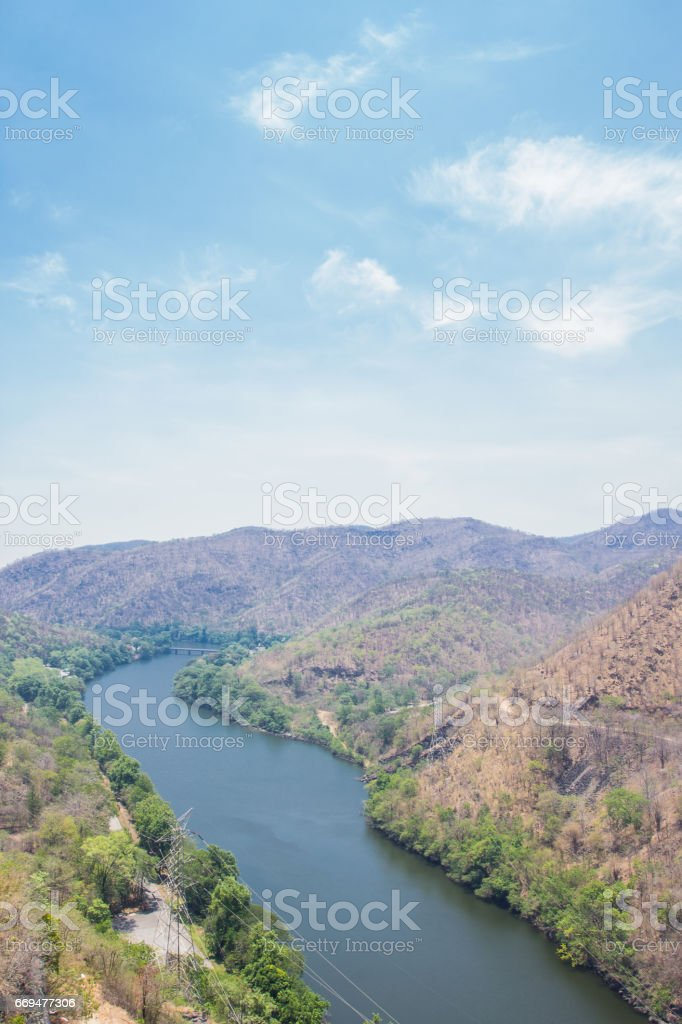 View of Bhumibol Dam, The dam is situated on the Ping in Tak Province Thailand. stock photo