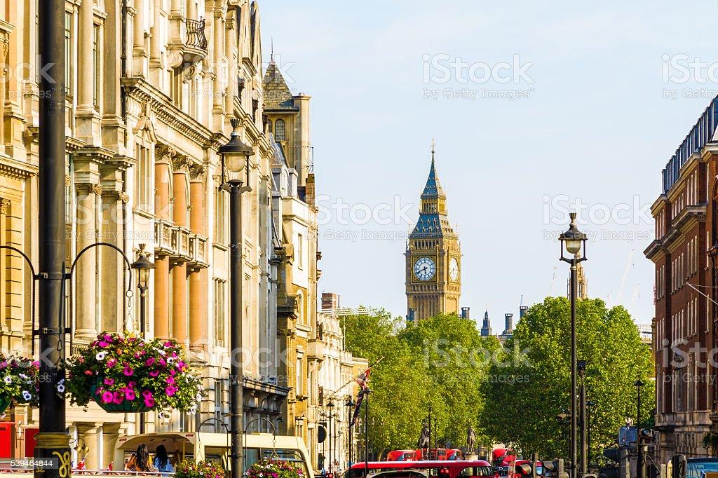 View of Big Ben from Trafalgar Square stock photo