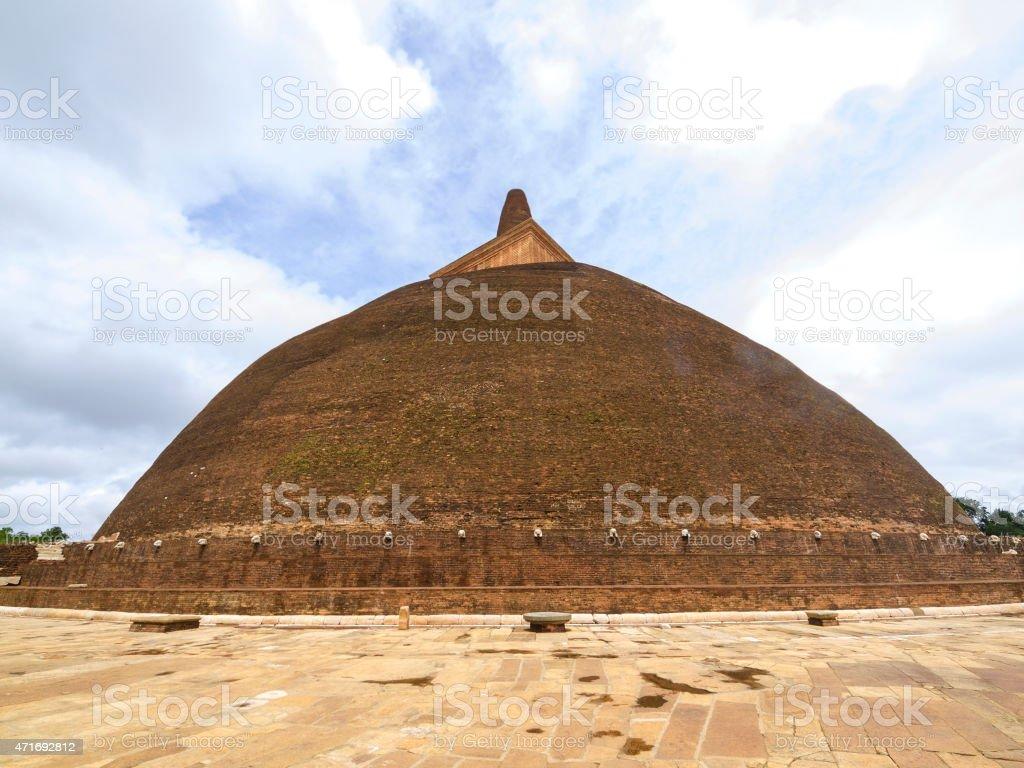 View of big Stupa  the Abhayagiri Dagaba in Sri Lanka stock photo