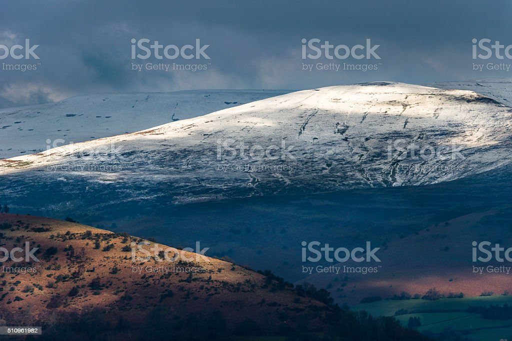 View of Black Mountains from Llangynidr stock photo