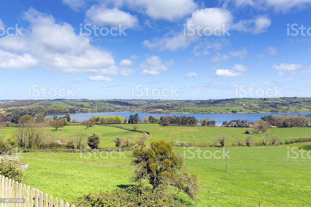 View of Blagdon Lake Somerset with blue sky stock photo