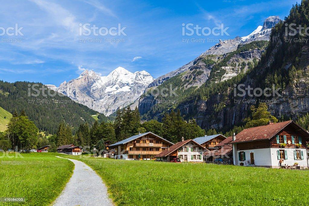 View of Bluemlisalp on the hiking path stock photo
