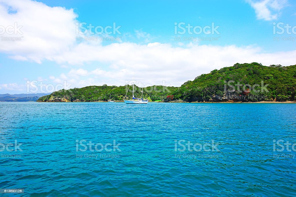 View of boats at the harbour in Russell, New Zealand stock photo