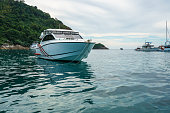 View of boats in bay. Phuket, Thailand