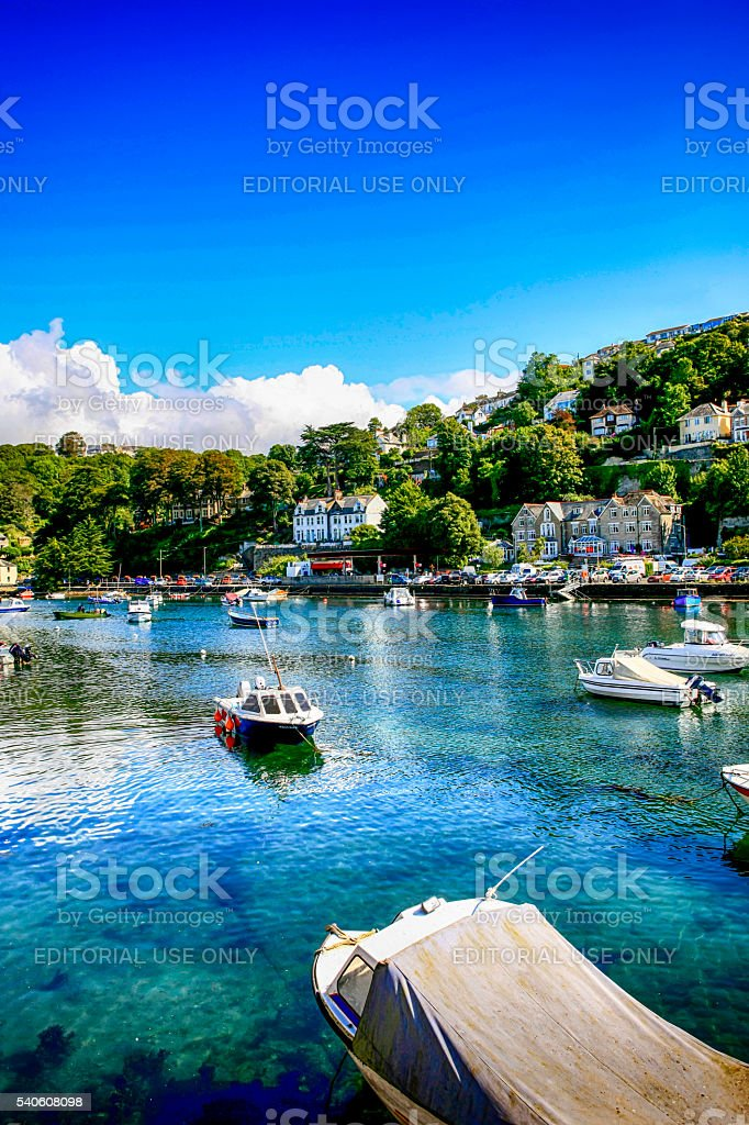 View of boats in the estuary at Looe, UK stock photo