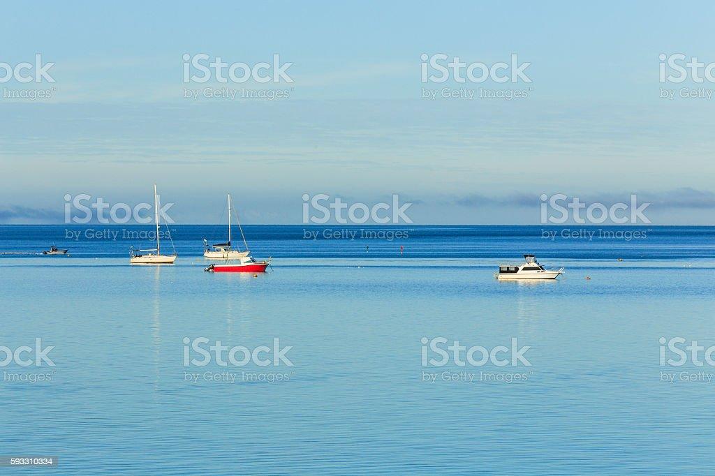 View of Boats Moored at Shark Bay stock photo