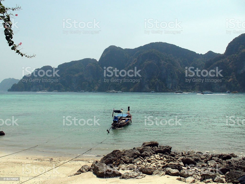 View Of Boats On Phi Phi Island Phuket Thailand.Southeast Asia stock photo