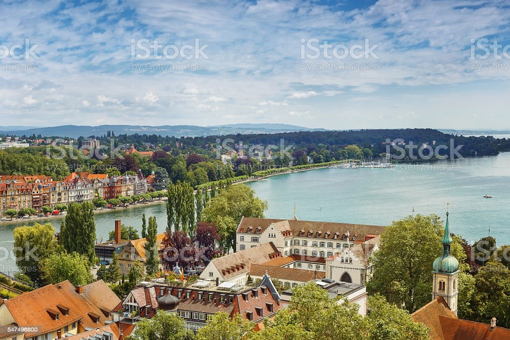view of Bodensee from Munster of Konsnanz city. stock photo