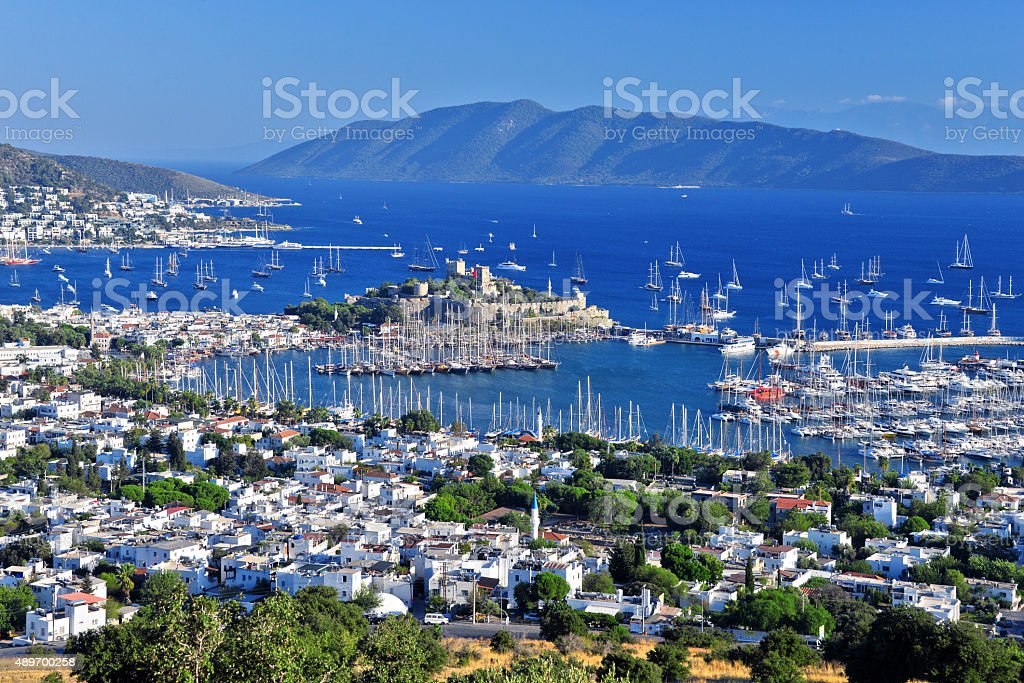 View of Bodrum harbor and Castle of St. Peter stock photo