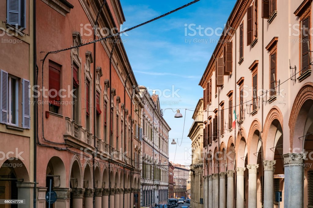 View of Bologna porticoes stock photo