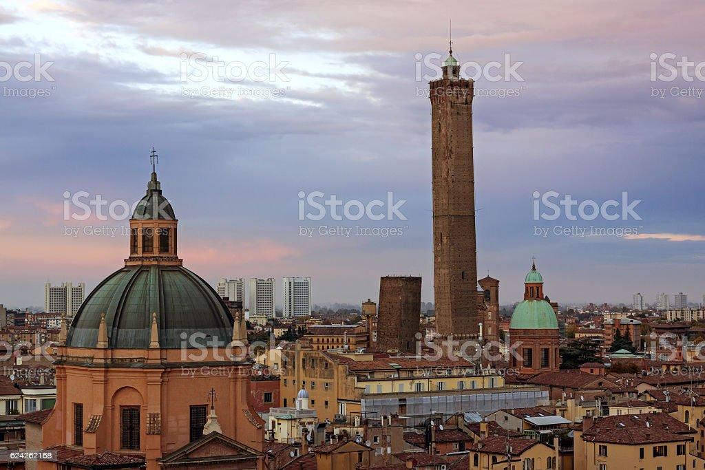 View of Bologna - torri asinelli stock photo