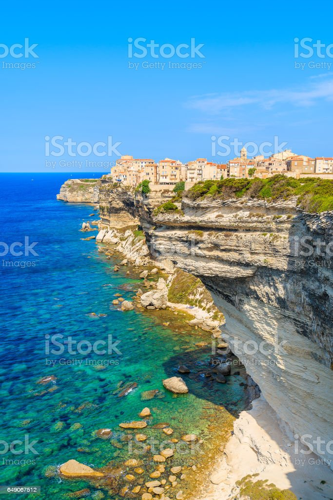 A view of Bonifacio old town built on high cliff above the sea, Corsica island, France stock photo