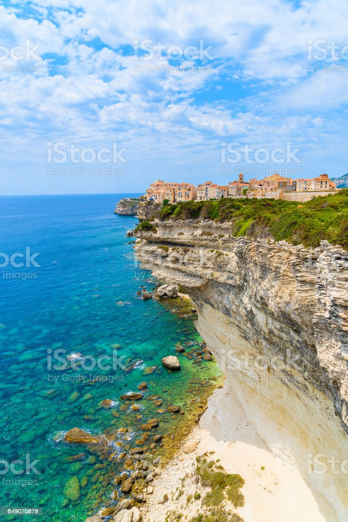 View of Bonifacio old town built on top of cliff rocks, Corsica island, France stock photo
