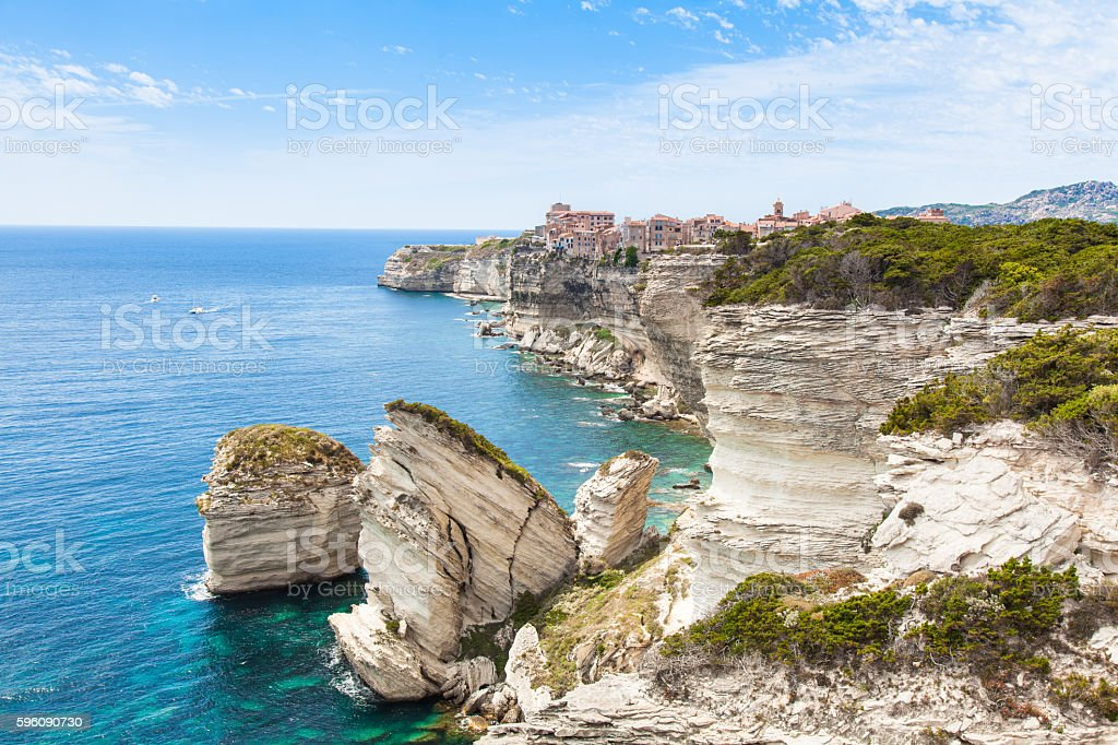 View of Bonifacio old town, Corsica, France stock photo