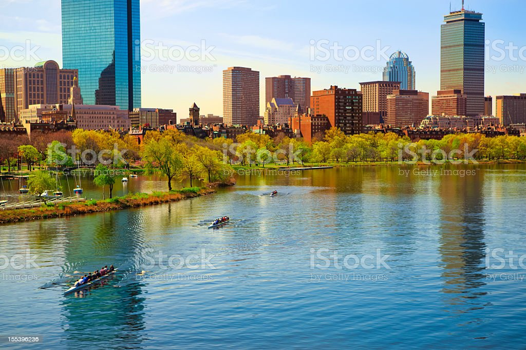 View of Boston Back Bay and Charles River stock photo