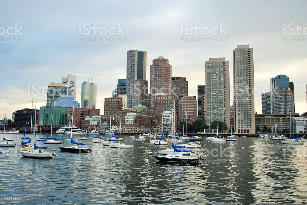 View of Boston From The Harbor stock photo