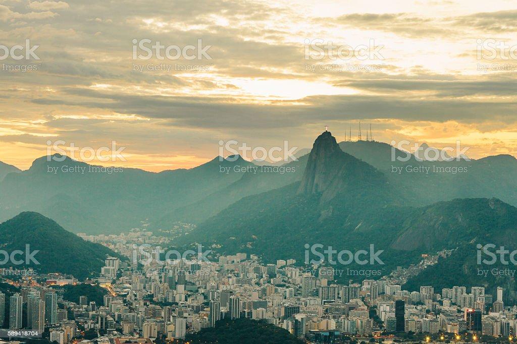 View of Botafogo at dusk, Rio de Janeiro stock photo