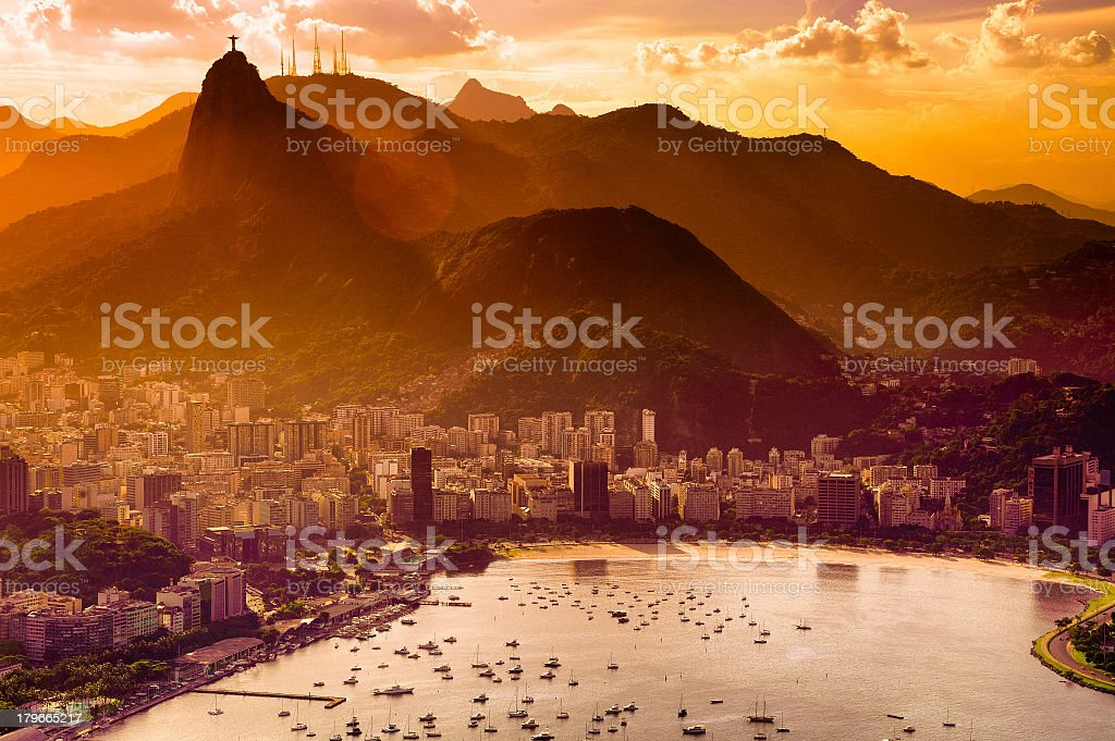 A view of Botafogo during a sunset stock photo