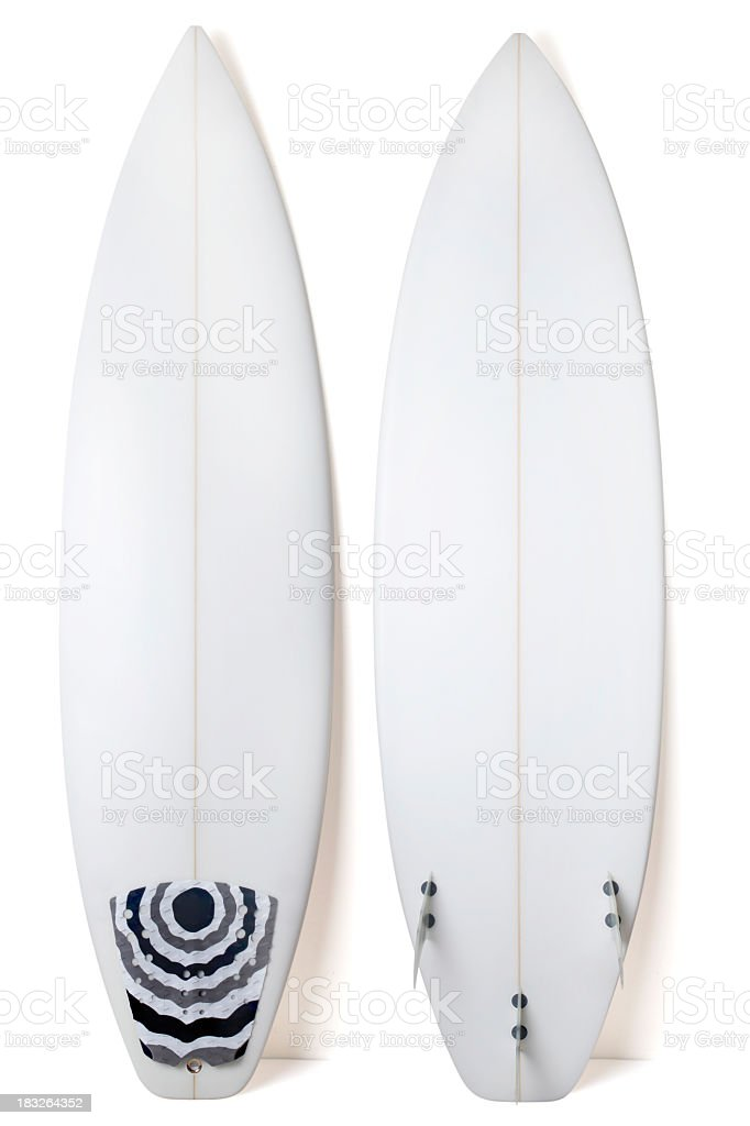A view of both sides of a white surfboard stock photo