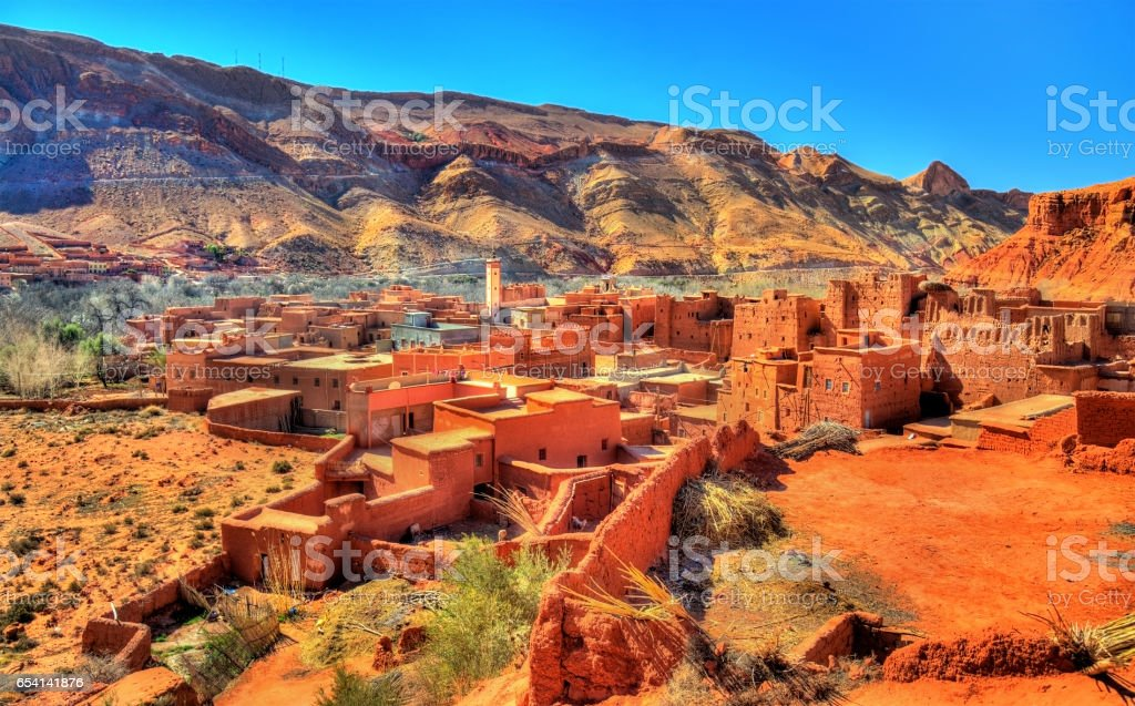 View of Bou Tharar village. Morocco, the Valley of Roses stock photo